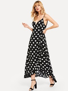 Wrap Ruffle Polka Dot Cami Dress