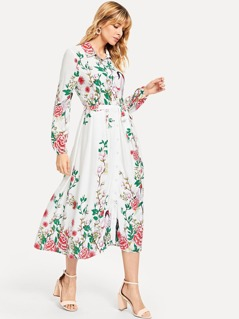 Self Belted Botanical Shirt Dress