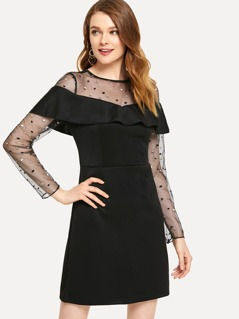 Mesh Insert Ruffle Embellished Dress