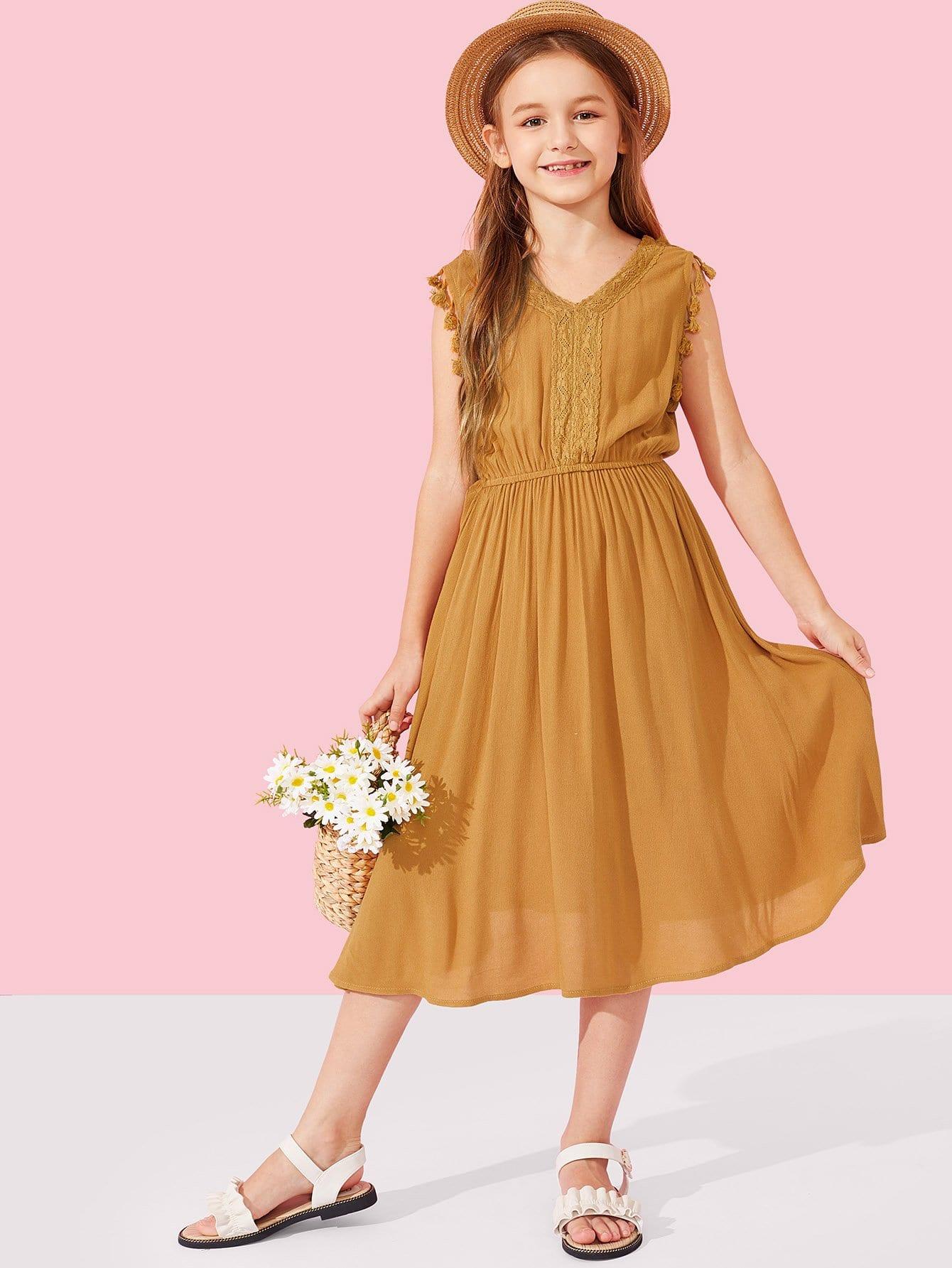 Купить Платье с оторочками бахром и с кружевами для девочки, Sasa, SheIn
