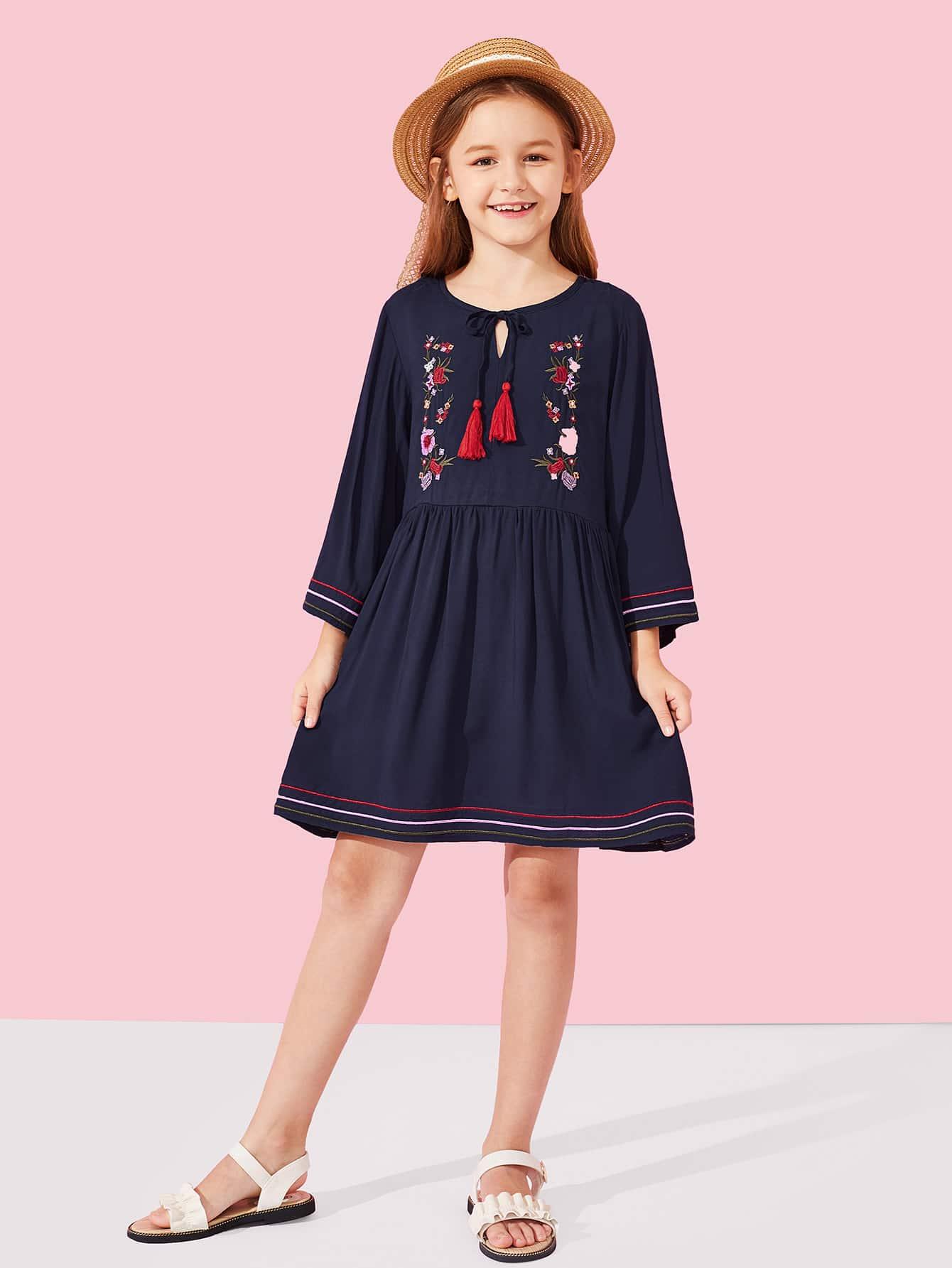Купить Платье с вышивкой и воротник с бахромой для девочки, Sasa, SheIn
