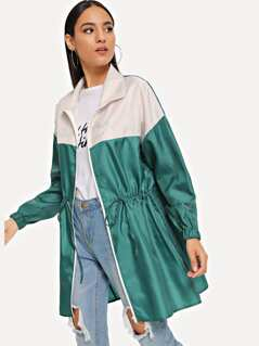 Zipper Up Drawstring Color Block Jacket