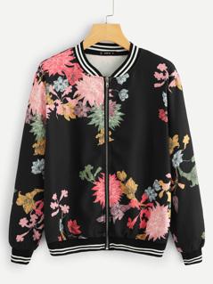 Stripe And Flower Bomber Jacket