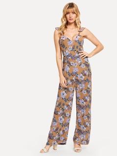 Ruffle Strap Flower Print Jumpsuit