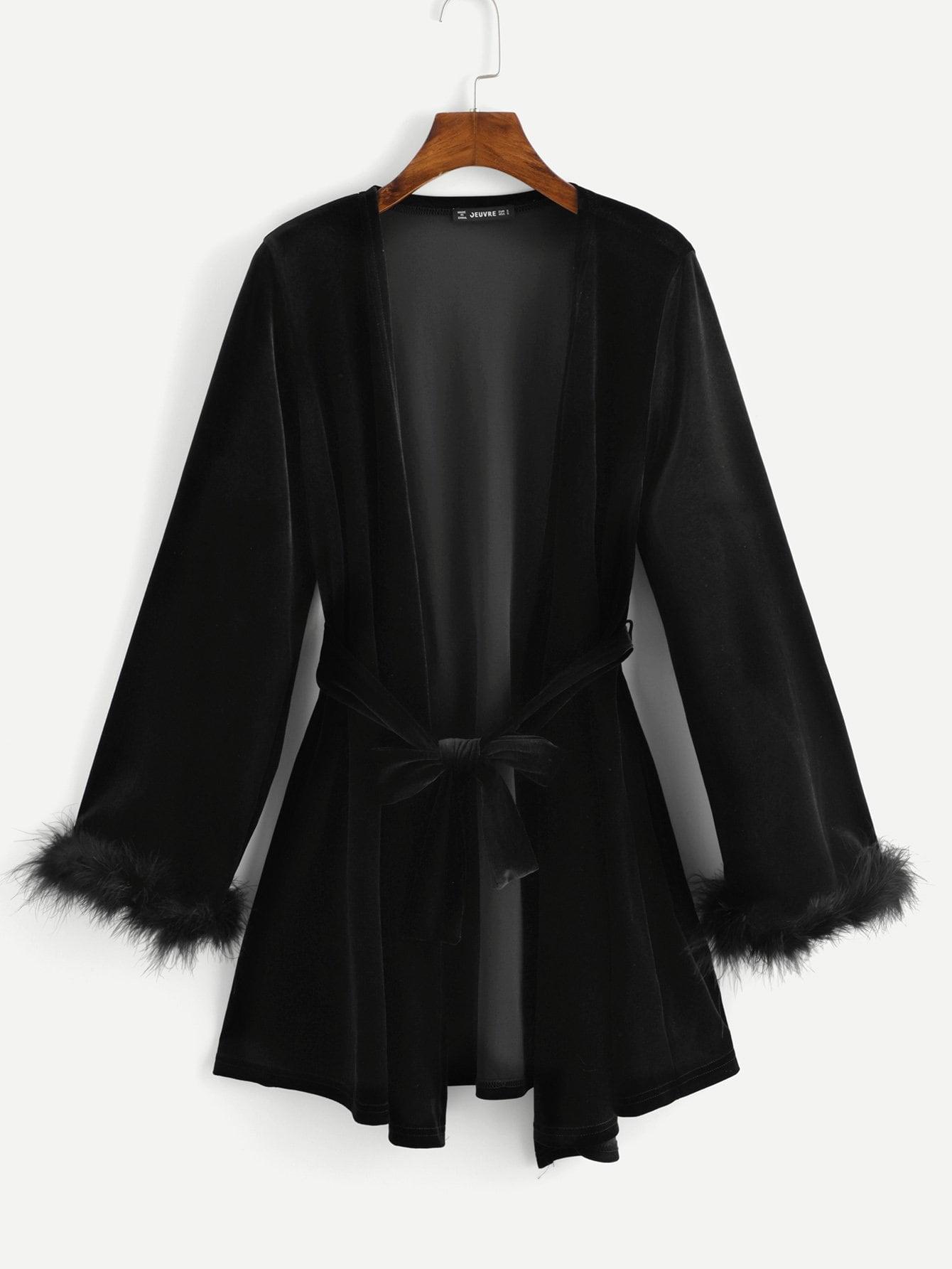 Купить Бархатное длинное пальто и отверстие рукава из искусственных кож, null, SheIn