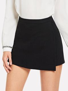 Slant Pocket Asymmetrical Solid Skirt