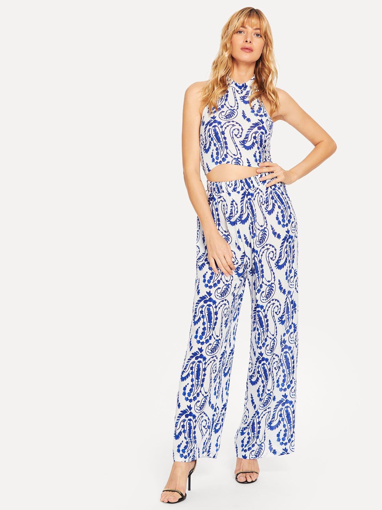 Купить Блузка с открытой спиной и с рисунками фарфоров цинхуа и брюки, Masha, SheIn