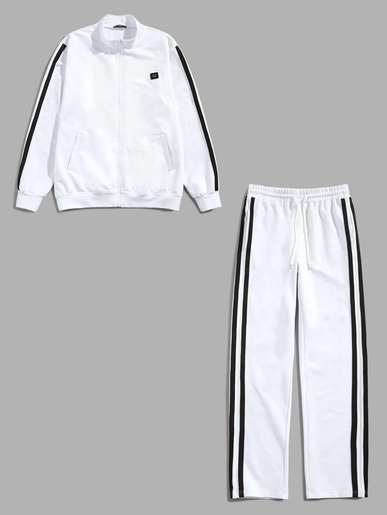 Для мужчин куртка в полоску сбоку и брюки комплект от SheIn