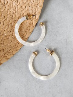 Mother Of Pearl Effect Hoop Earrings