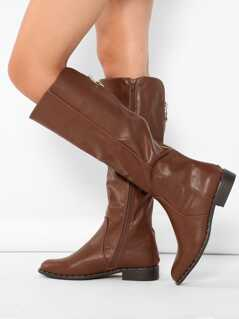 Stud And Back Zipper Detail Knee High Riding Boots