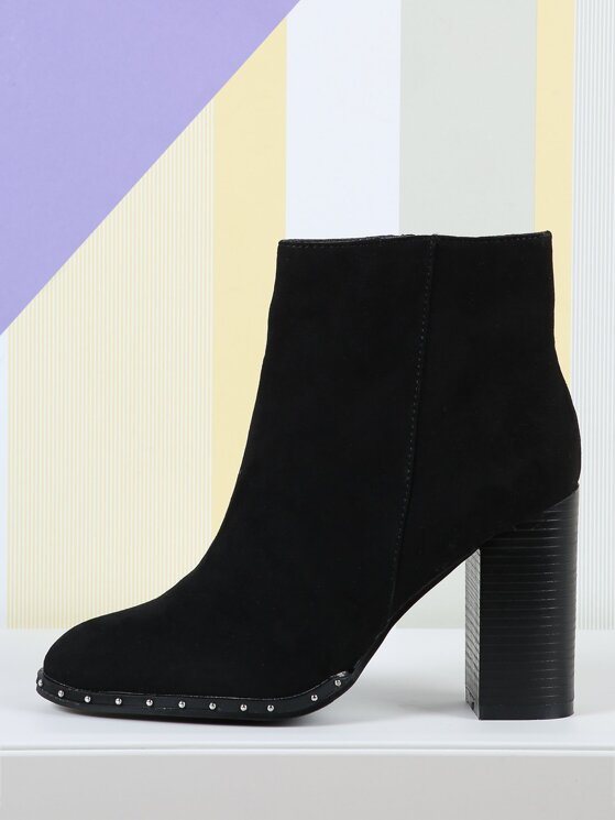 b1fd32f17fb Stud Detail Faux Suede Chunky Heel Ankle Booties