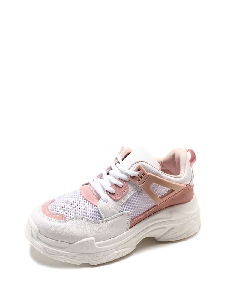 Lace Up Mesh Panel Sneakers