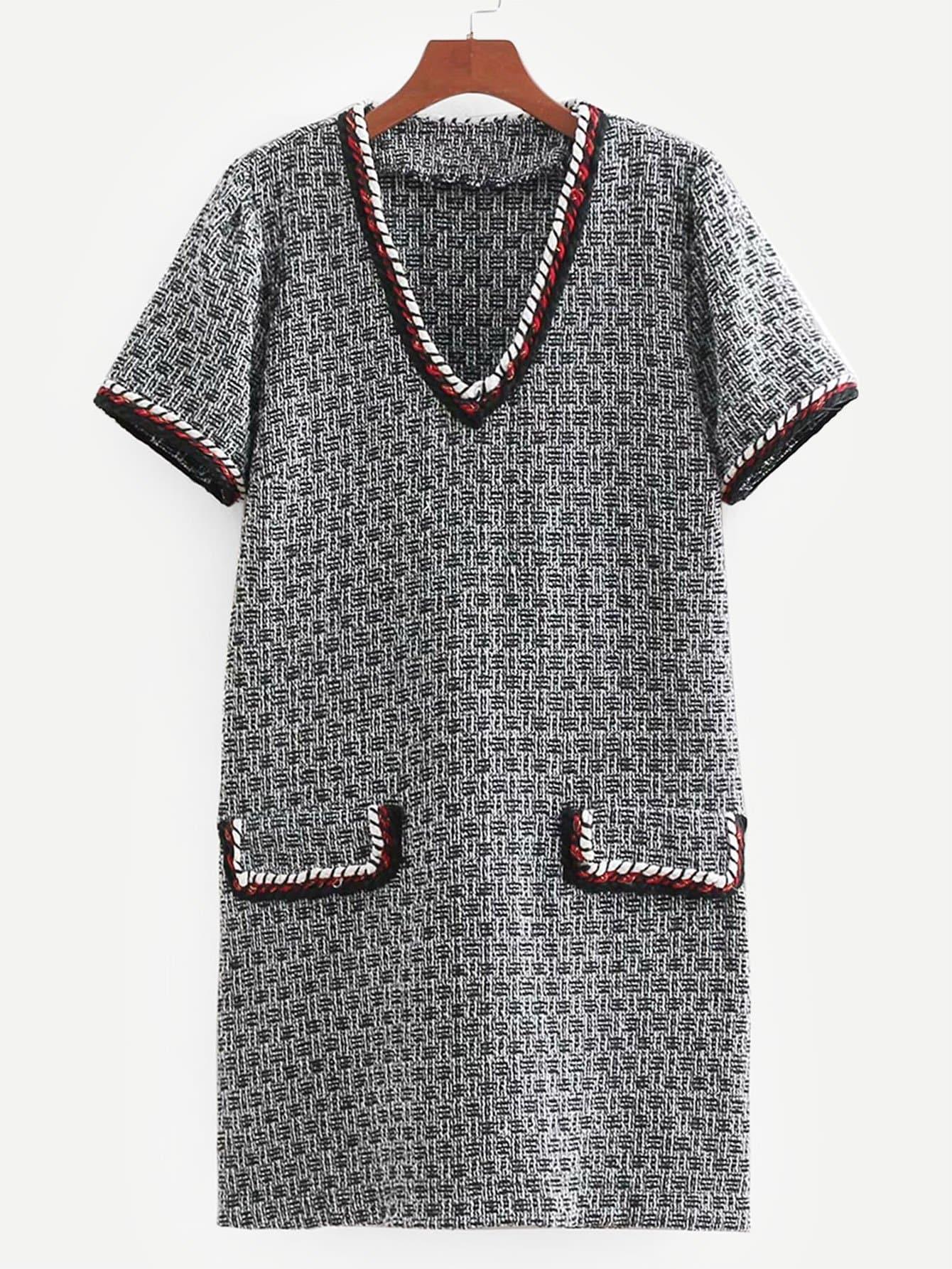 Купить Платье из вельвет-корда со симметрическими оторочками, null, SheIn