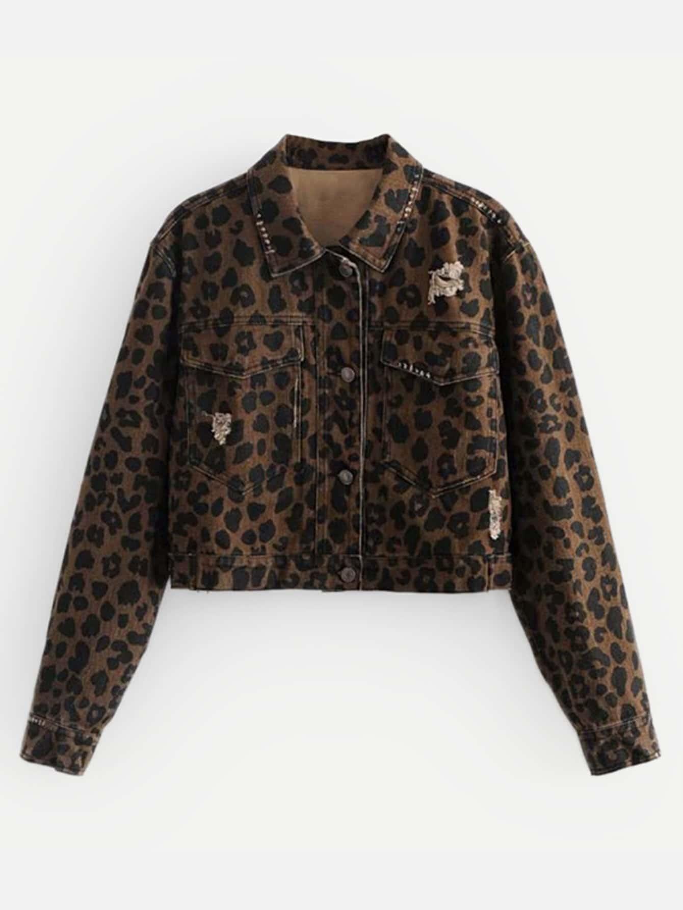 Купить Леопардовая рваная джинсовая ветровка, null, SheIn