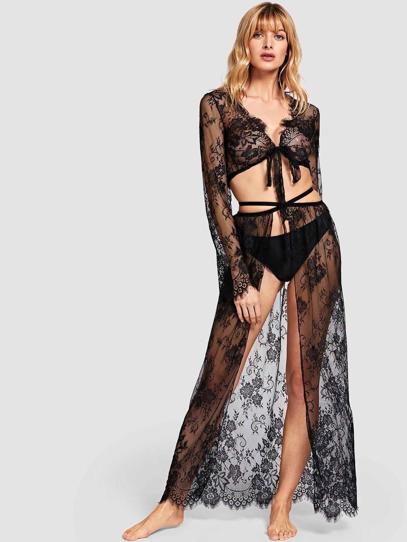 Купить Цветочные кружева топ и юбка со стрингом, Masha, SheIn