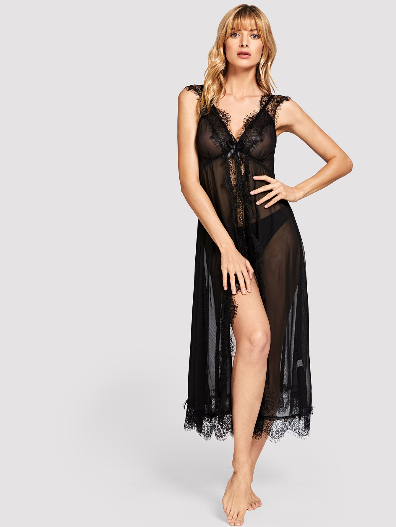 Купить Ресниц кружева платье со стрингом, Masha, SheIn