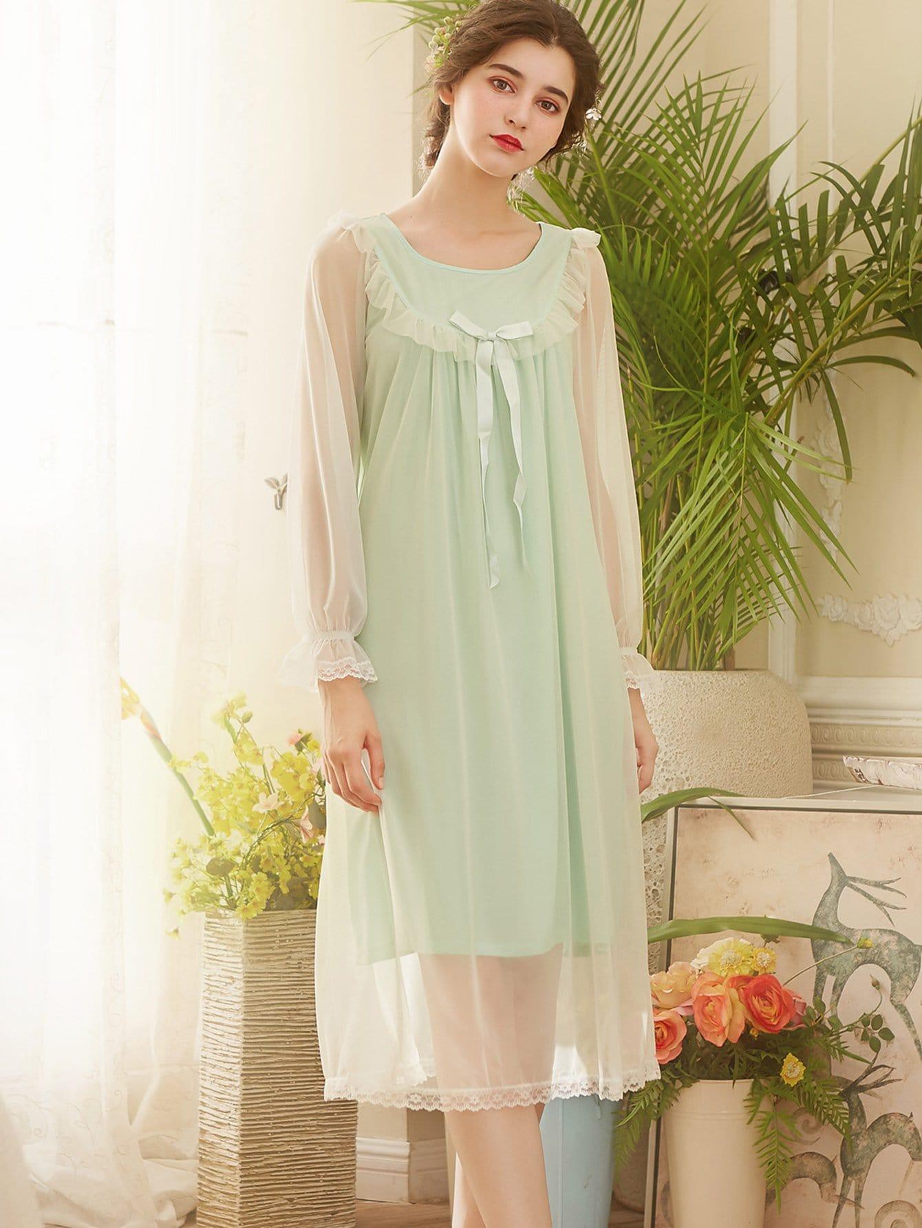 Lace Trim Mesh Panel Night Dress
