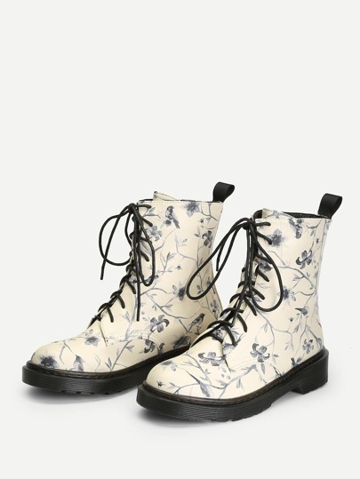 SheIn / Flower Print Lace-Up Boots