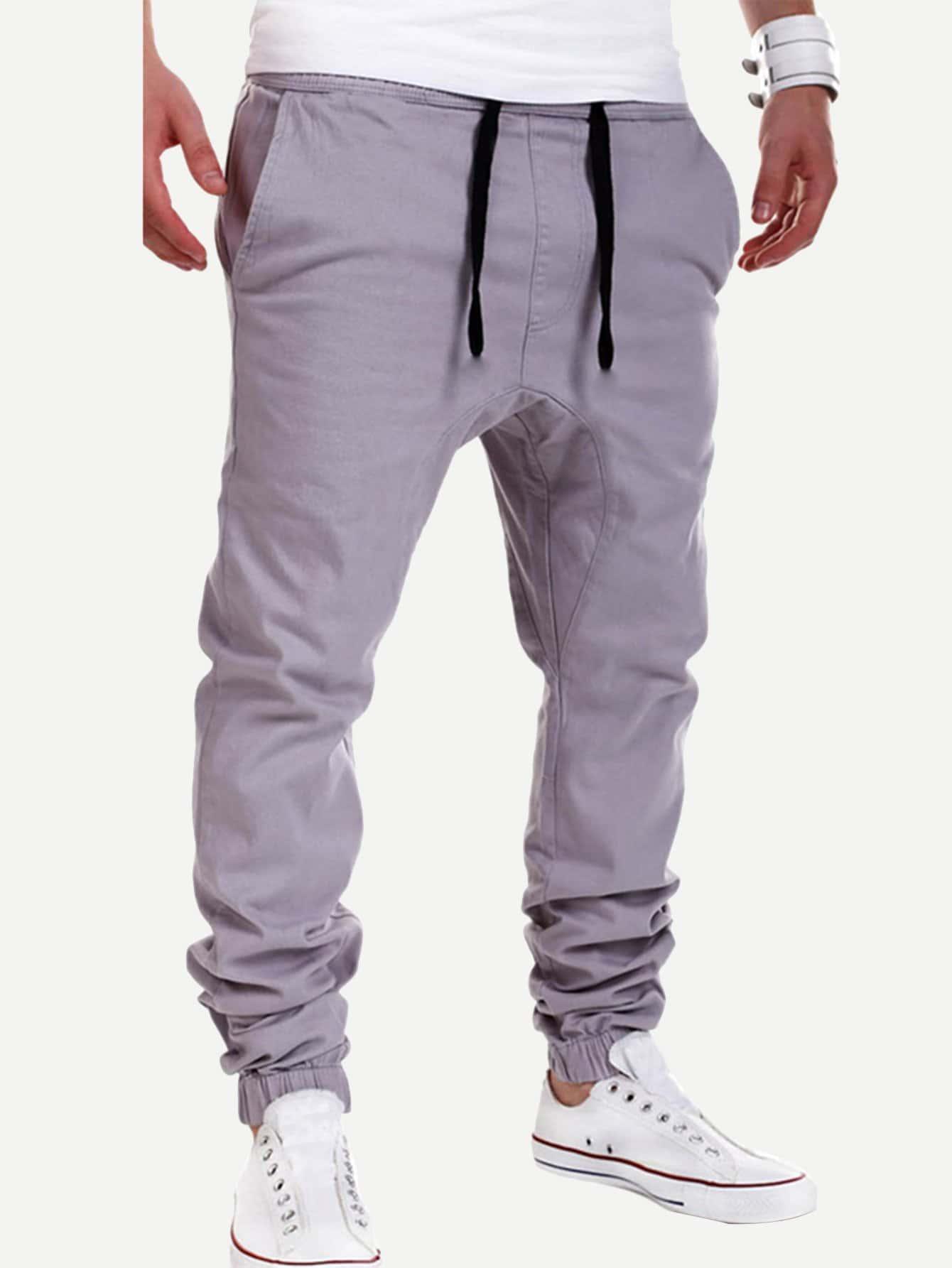 Men Solid Drawstring Pants
