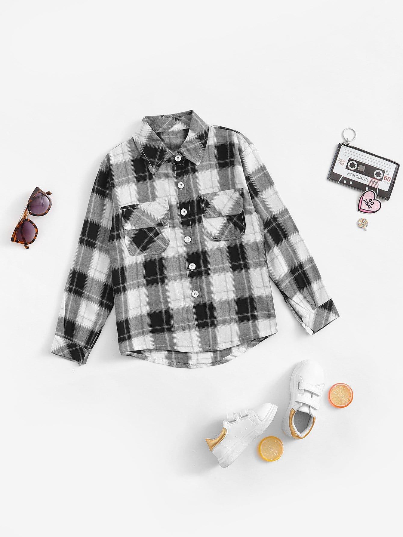 Мальчики Письмо Печать Клетчатую Рубашку