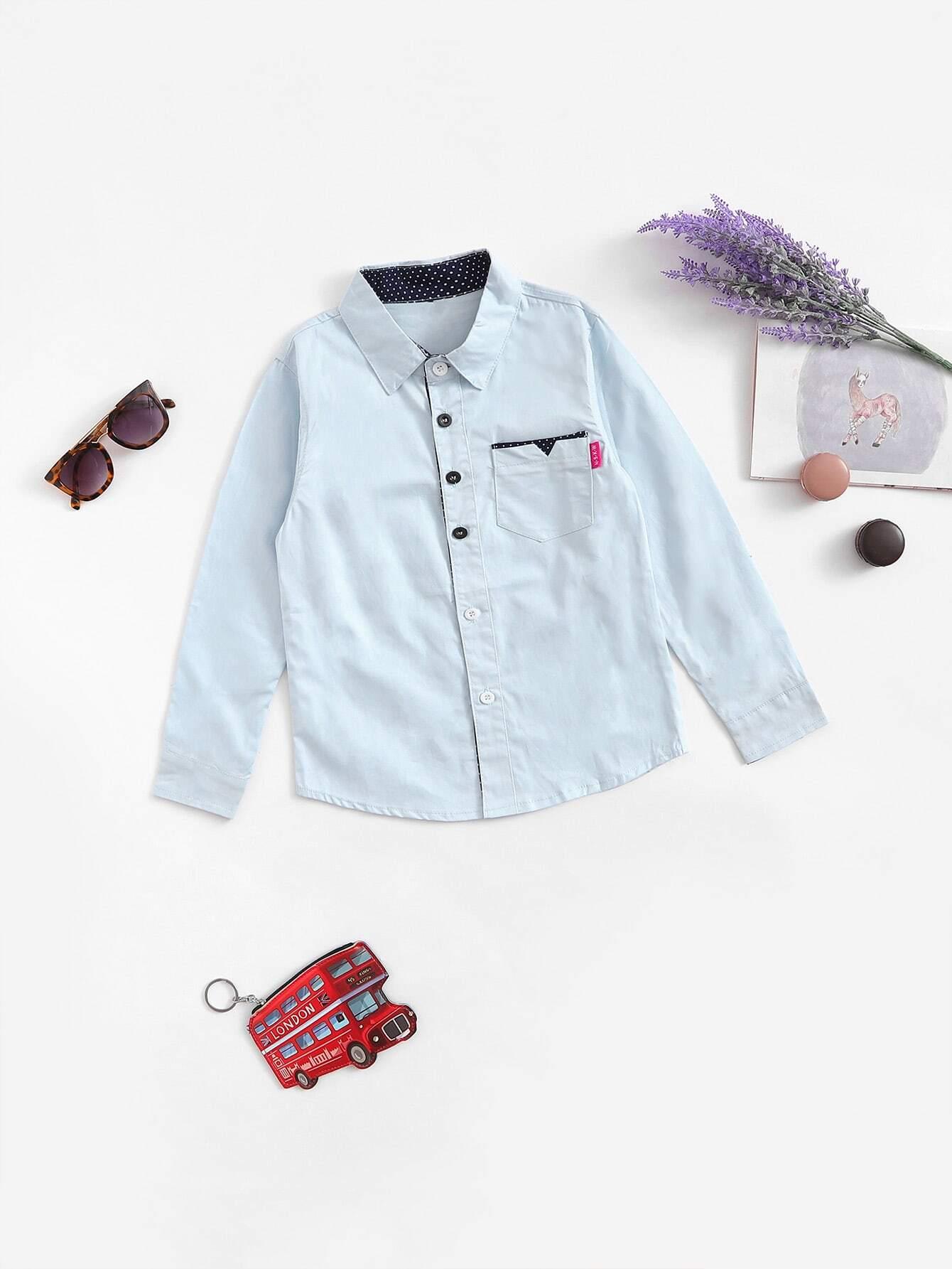 Boys Pocket Decoration Shirt