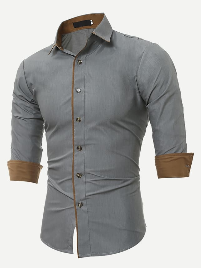 Купить Мужская футболка с воротником и рольными рукавами, null, SheIn