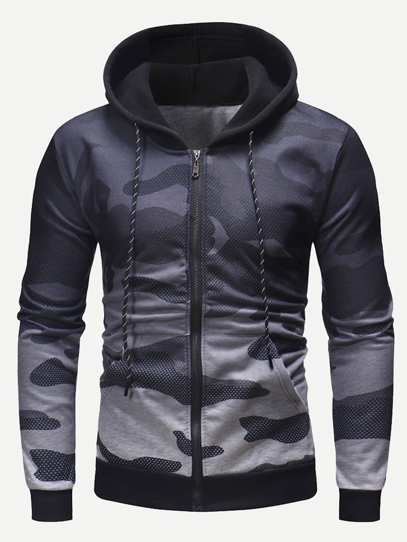 Les Hommes Zip À L'Ombre De Camouflage Hooded Sweatshirt