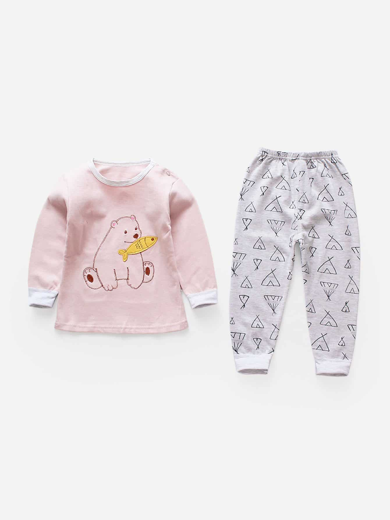 Girls Cartoon Pullover With Pants