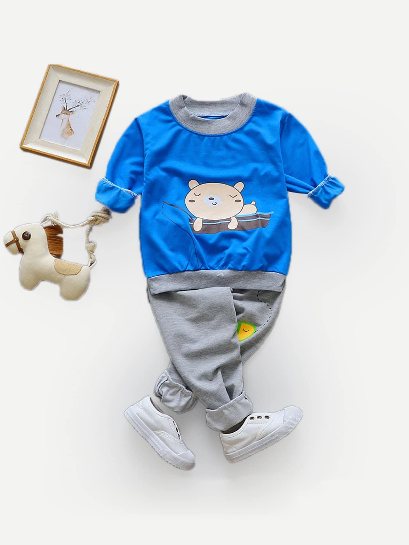 Boys Cartoon Sweatshirt With Pants