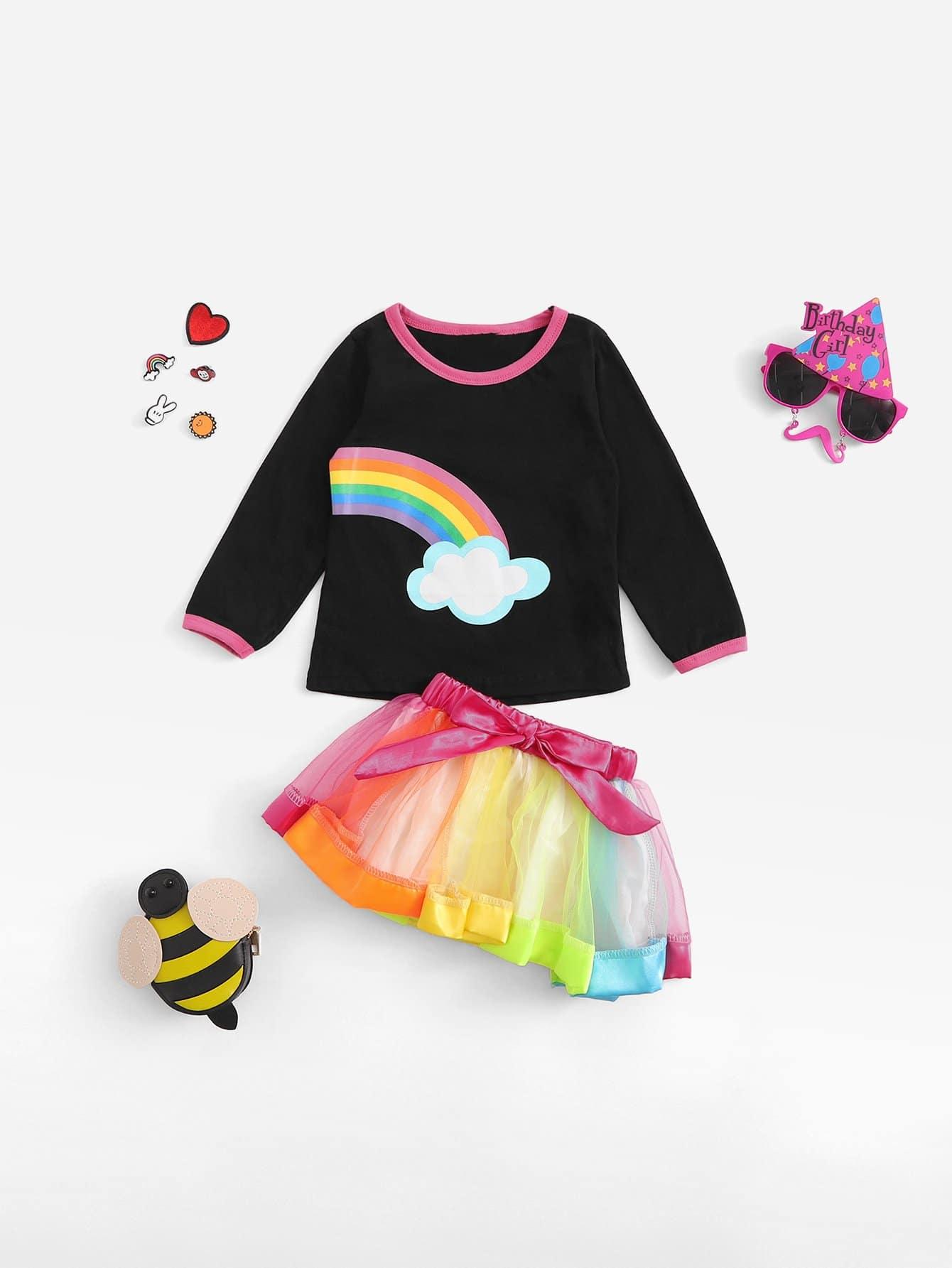 Купить Футболка с радуги и юбка для девочек, null, SheIn