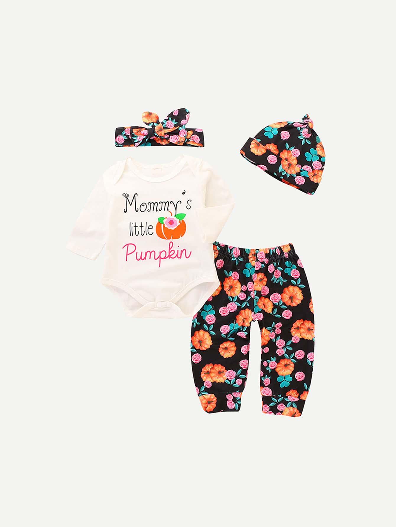 Les filles Romper & Pantalons à fleurs Avec un Chapeau et Bandeau