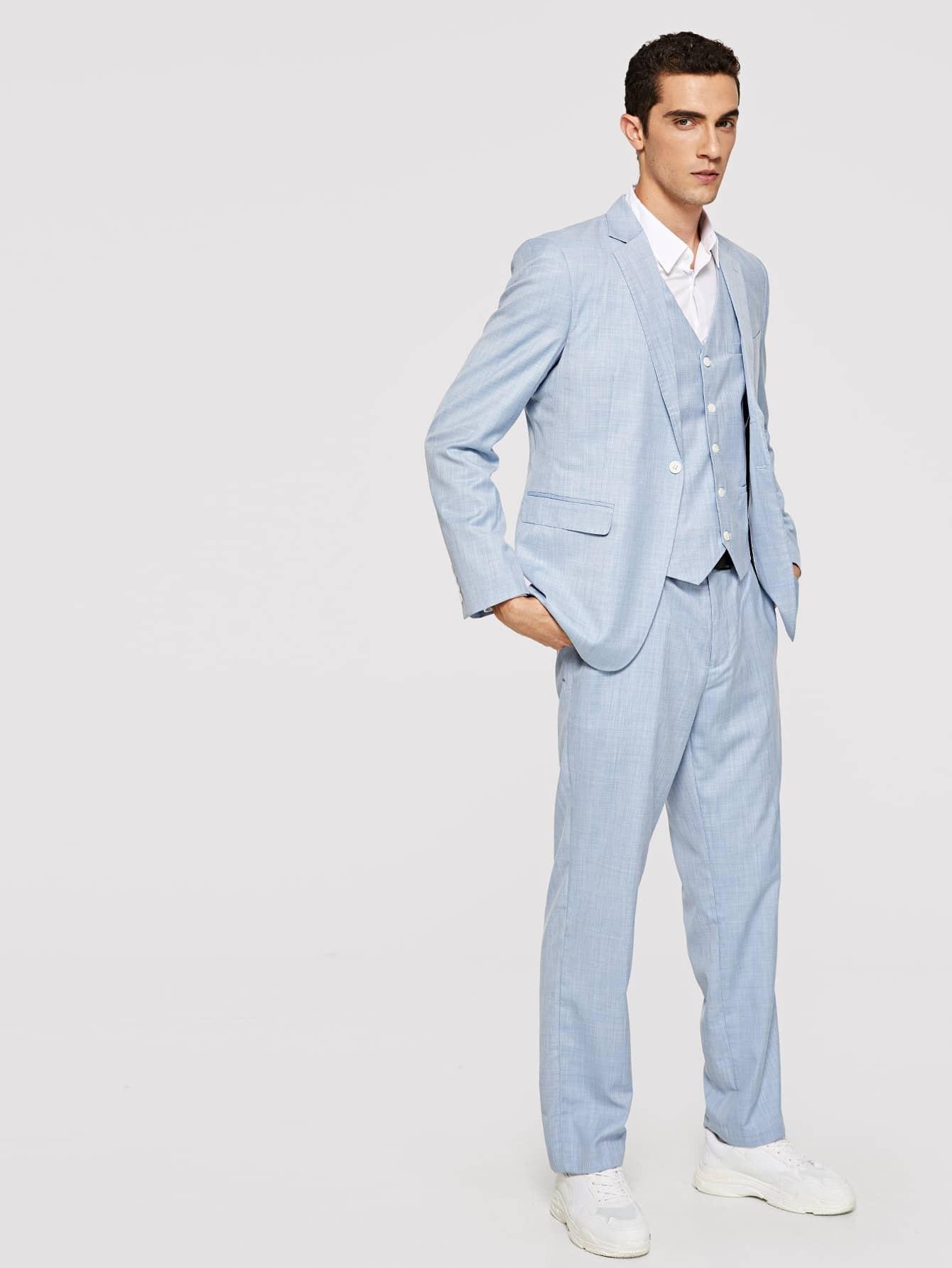 Мужский простой жакет и жилет и брюки от SheIn