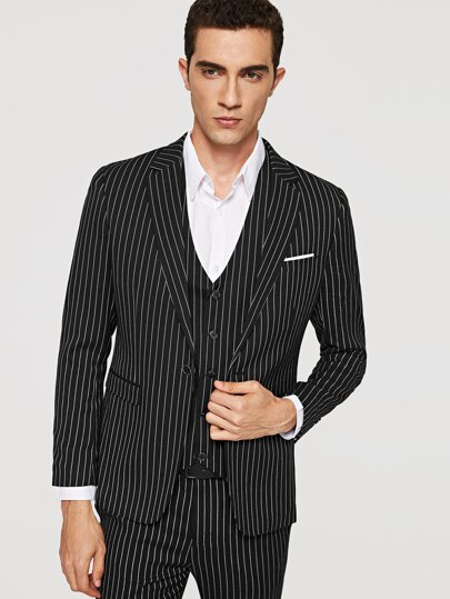 Men Striped Blazer & Vest & Pants 3pcs