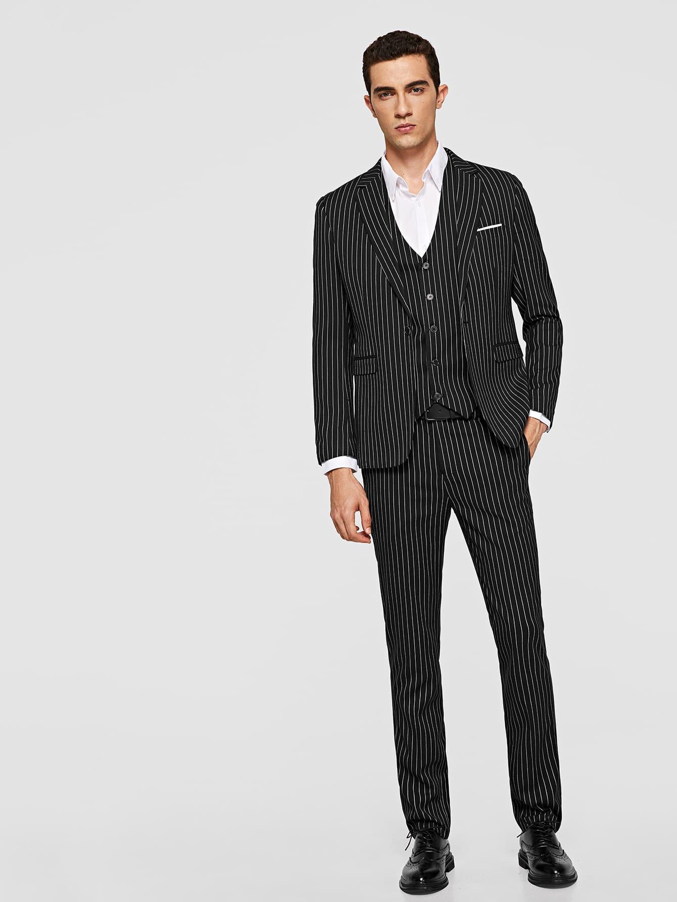 Купить Мужский полосатый жакет и жилет и брюки 3 шт, Lucas, SheIn