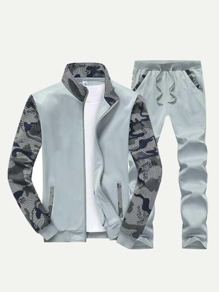 Men Cut And Sew Camouflage Jacket & Pants 2pcs