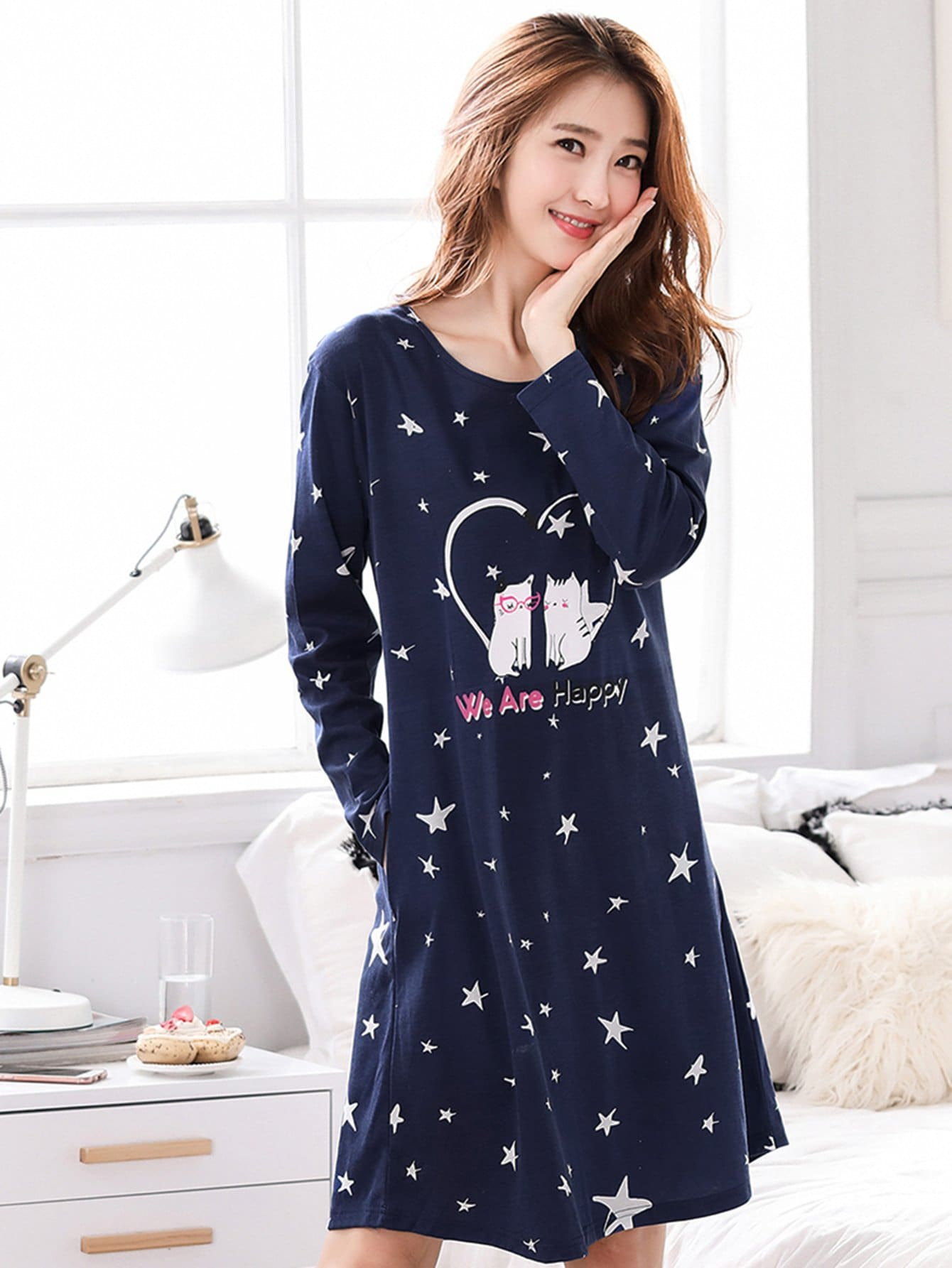 Cat & Star Print Night Dress