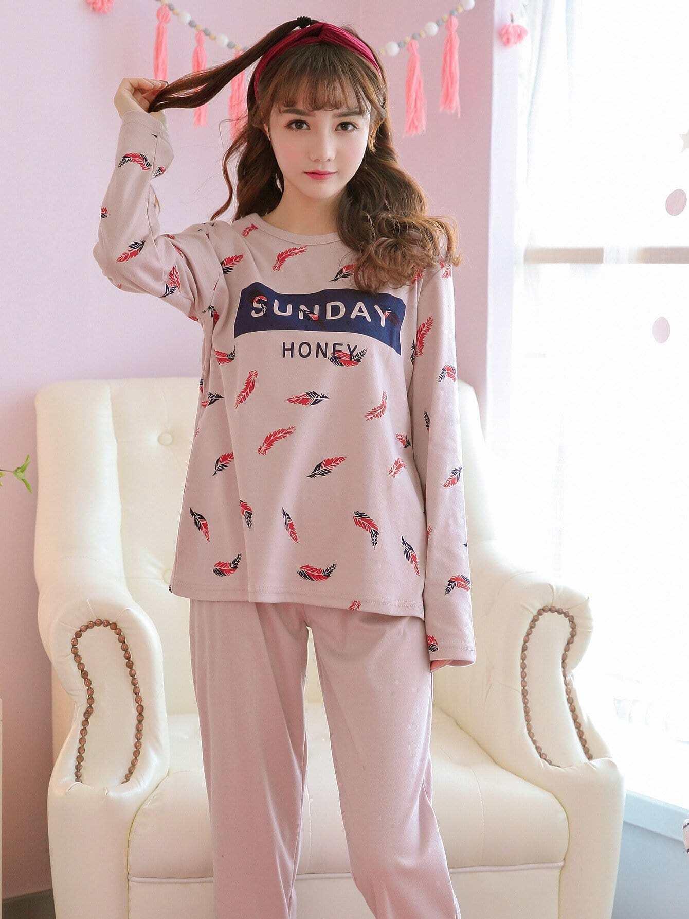 Plume & Lettre De L'Impression De Pyjama Set