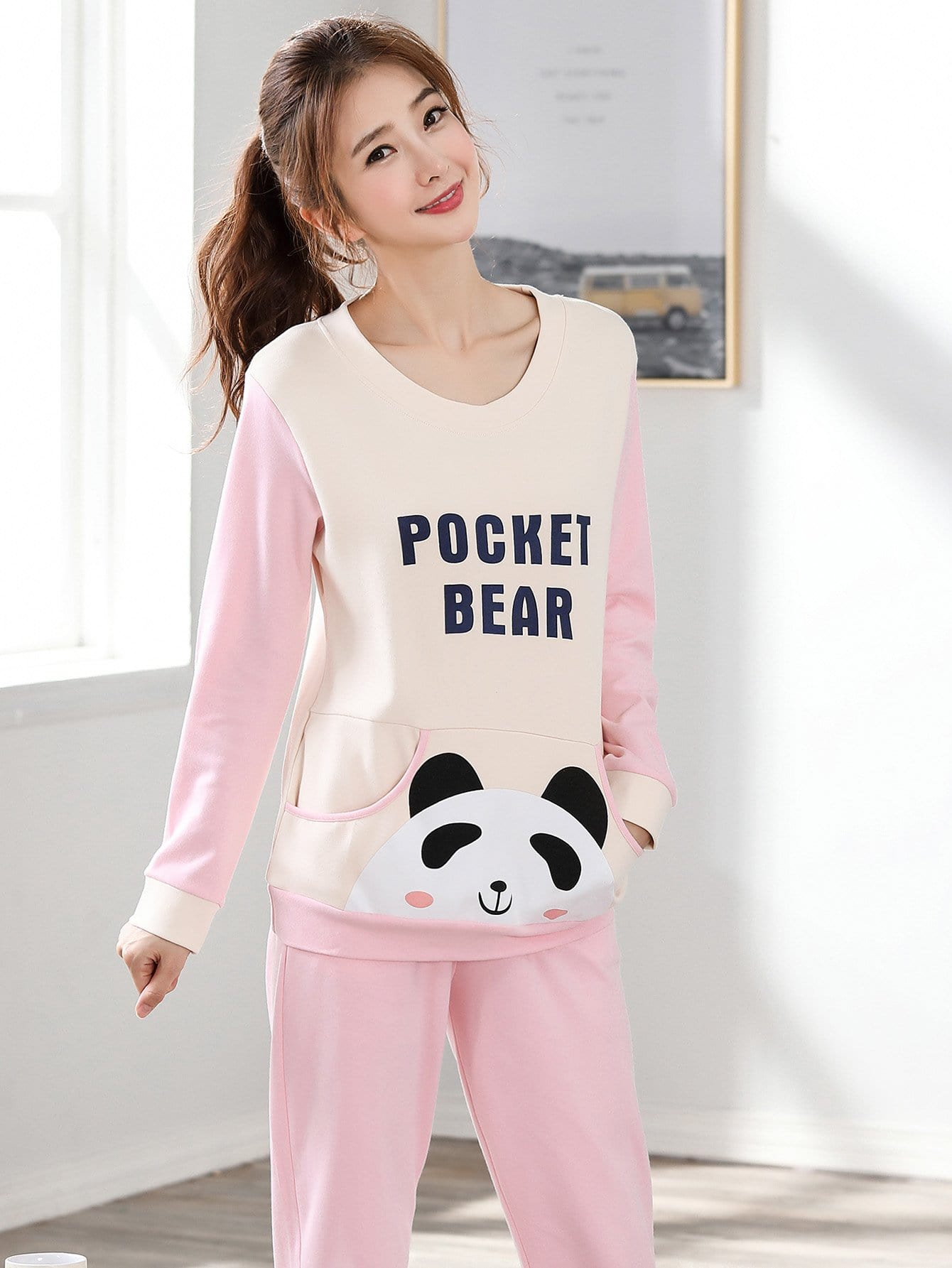 Panda & Lettre Imprimer Colorblock Pyjama Set