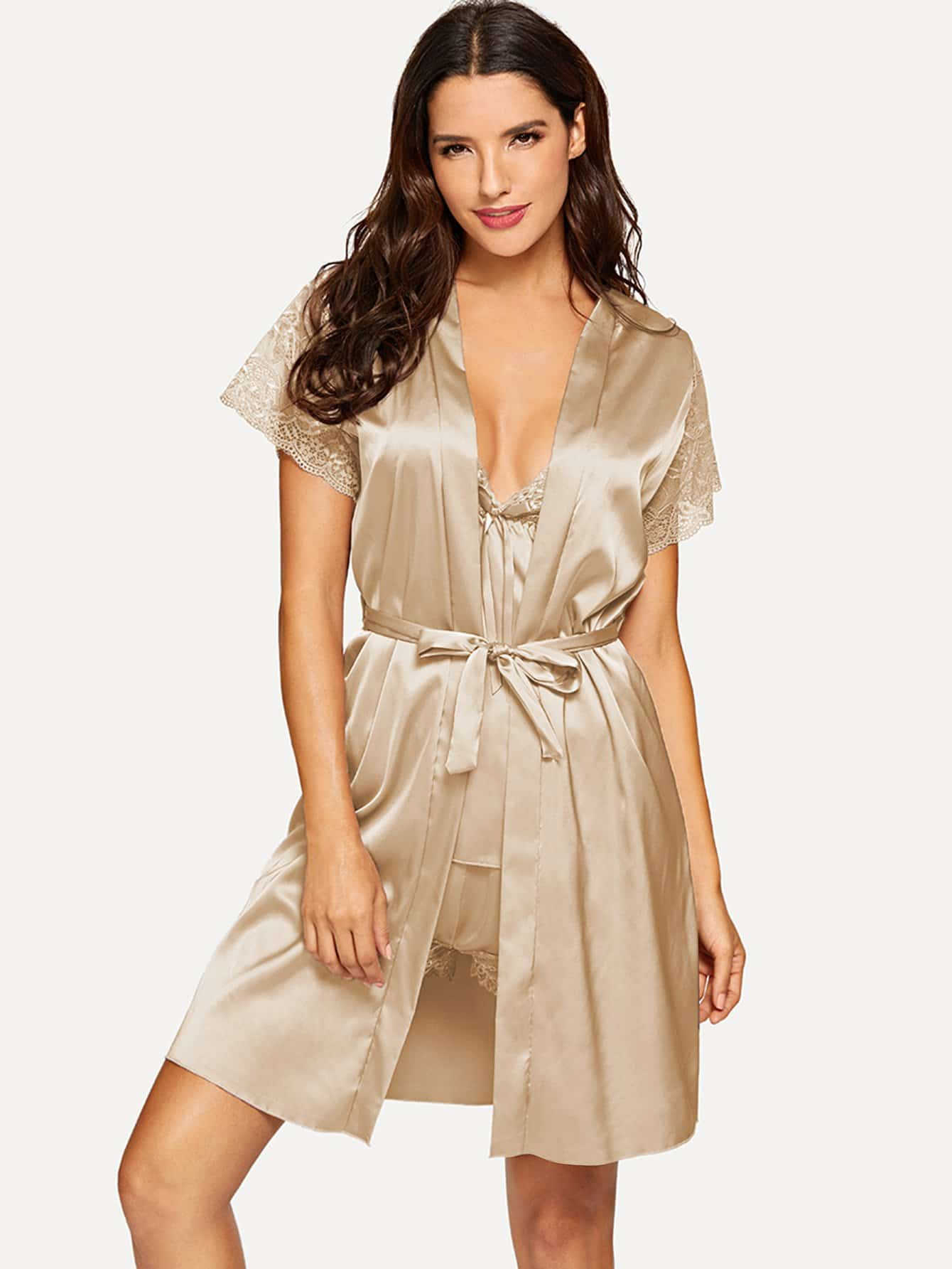 Contrast Lace Pajama Set With Robe