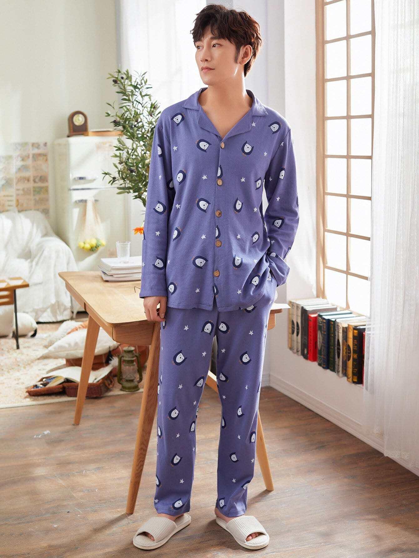Les Hommes D'Oiseaux Bouton Imprimer Haut De Pyjama Set