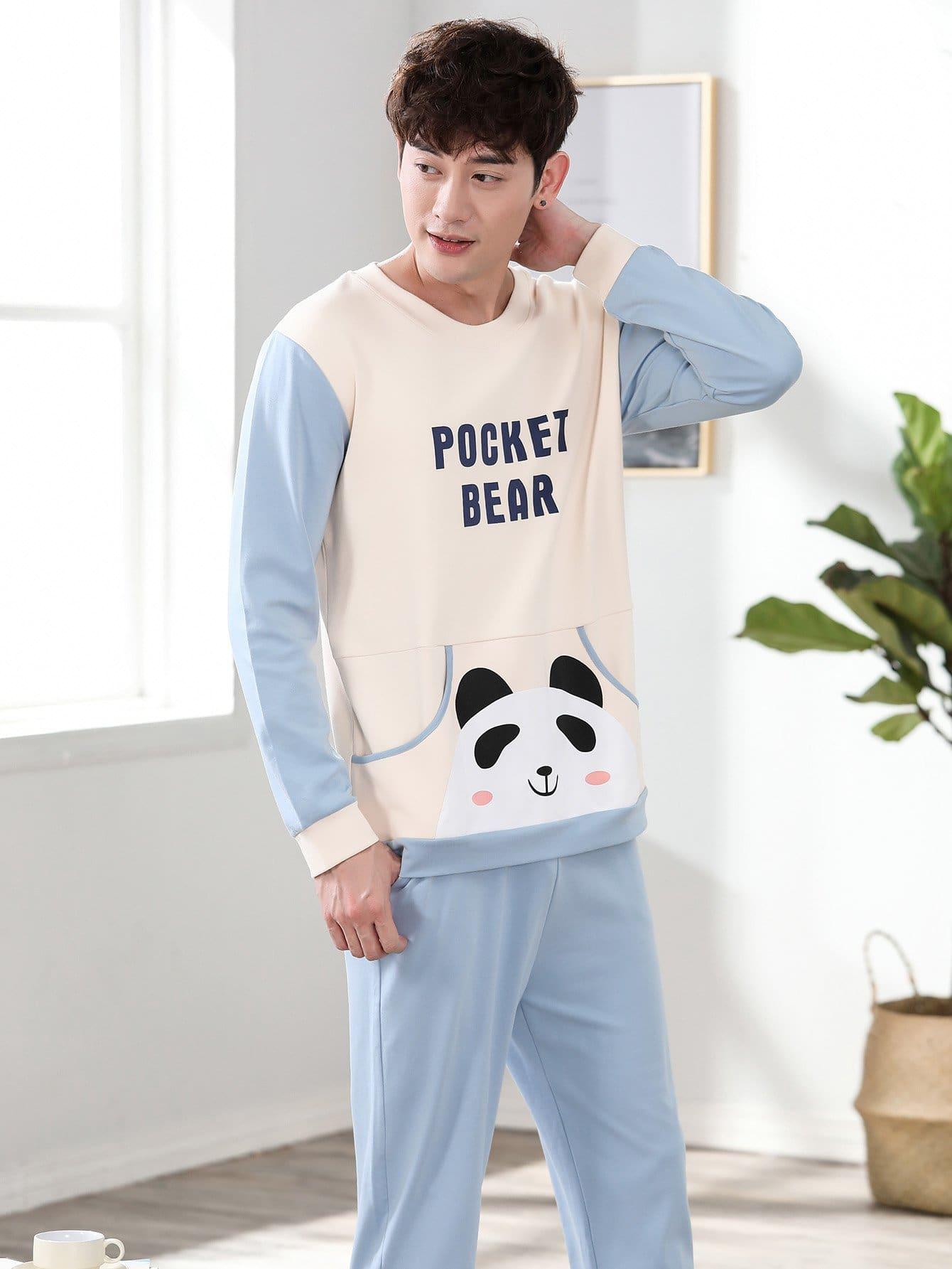 Men Panda Print Colorblock Pajama Set