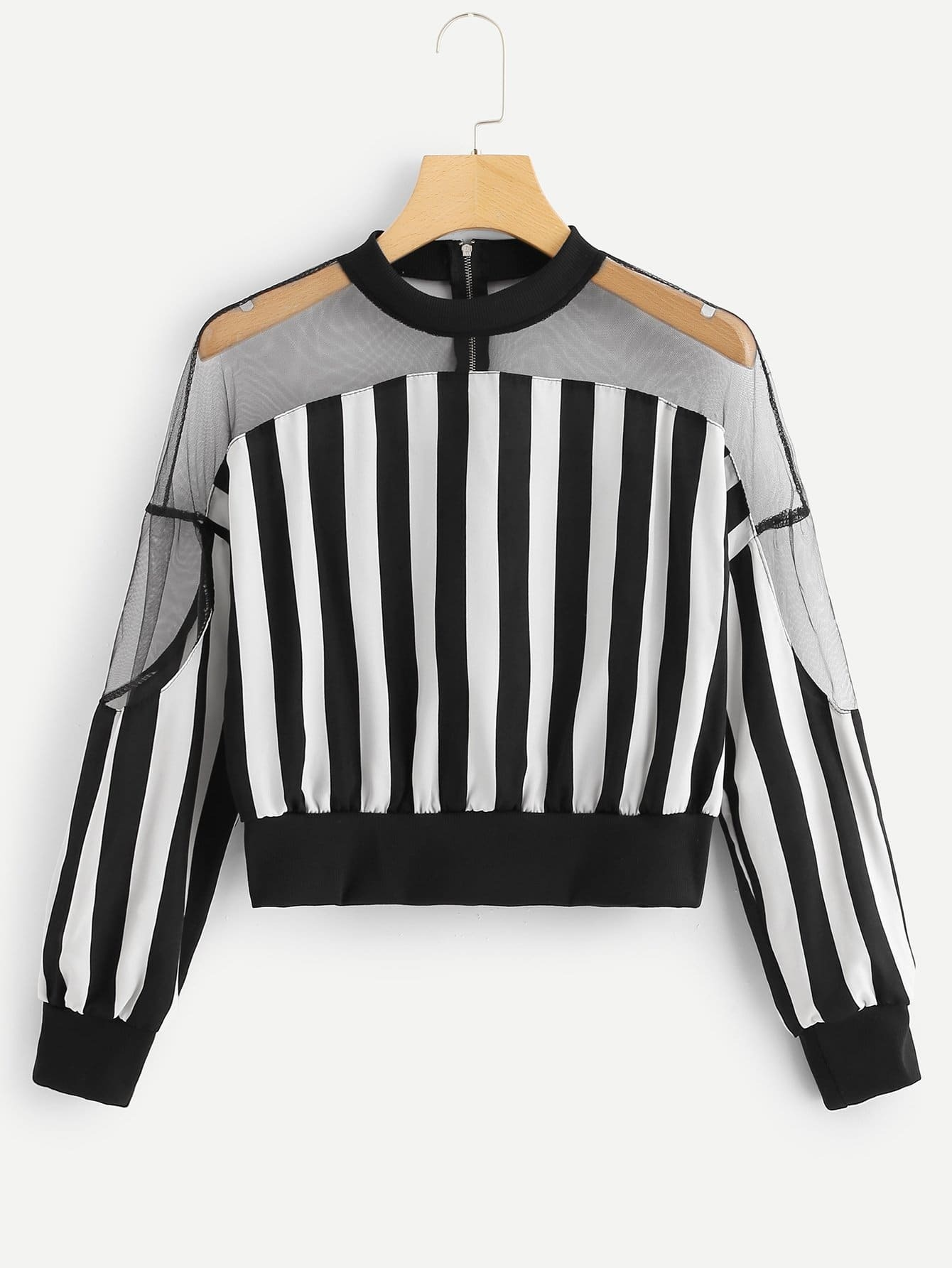 Striped Mesh Panel Blouse