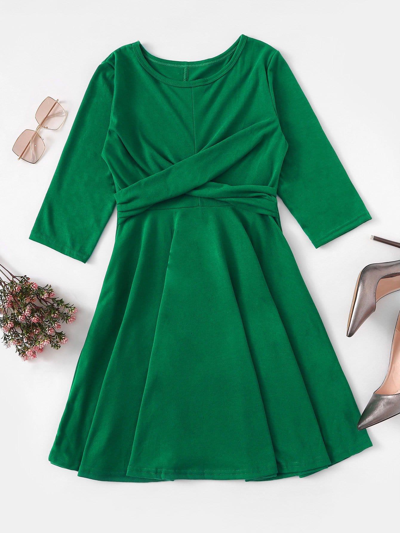 Twist Front Solid Dress
