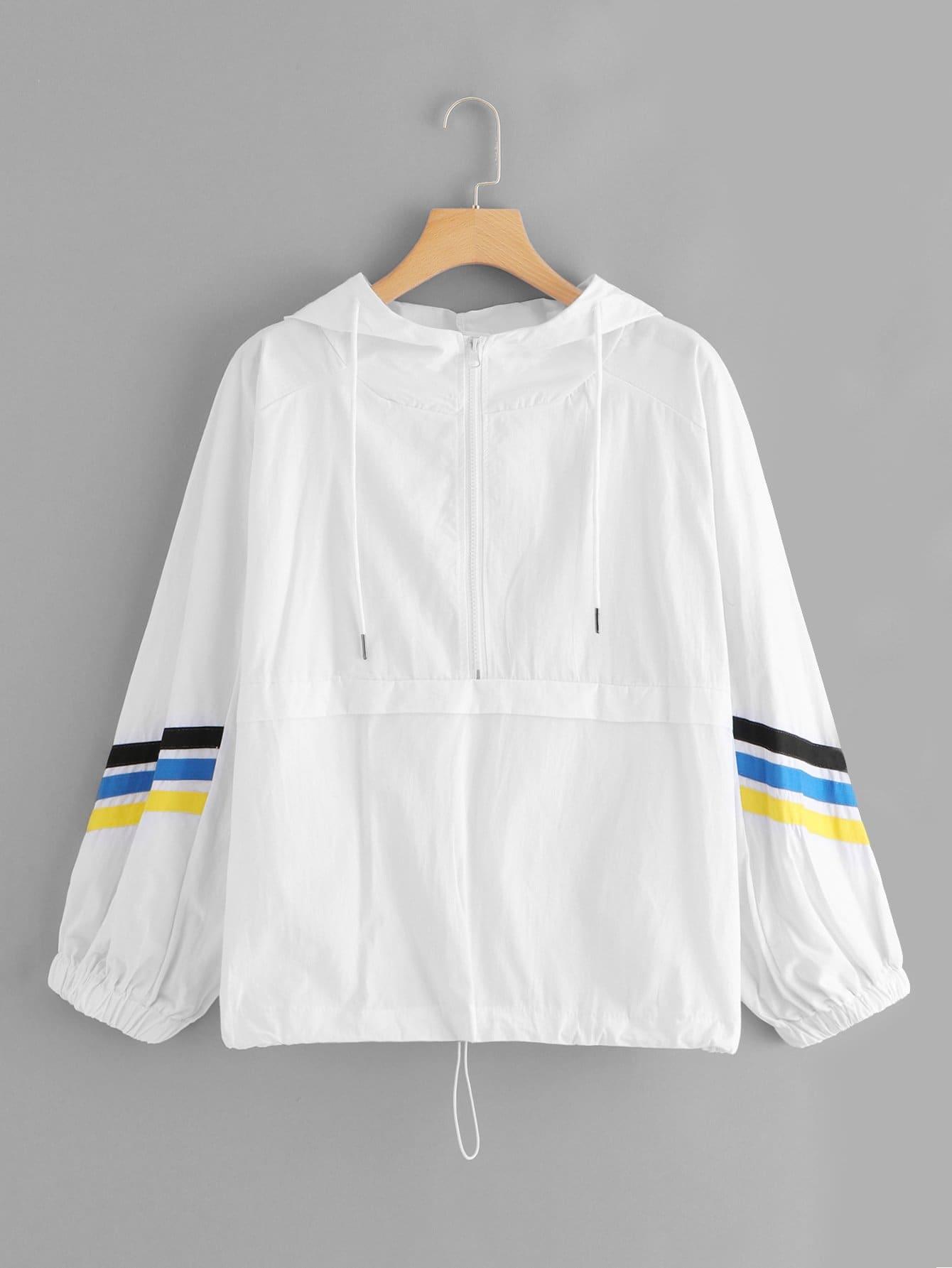 Zip Up Hoodie Drawstring Colorblock Jacket