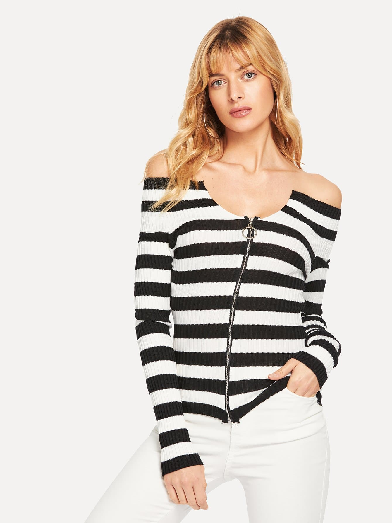 Zip Up Striped Off The Shoulder Jumper