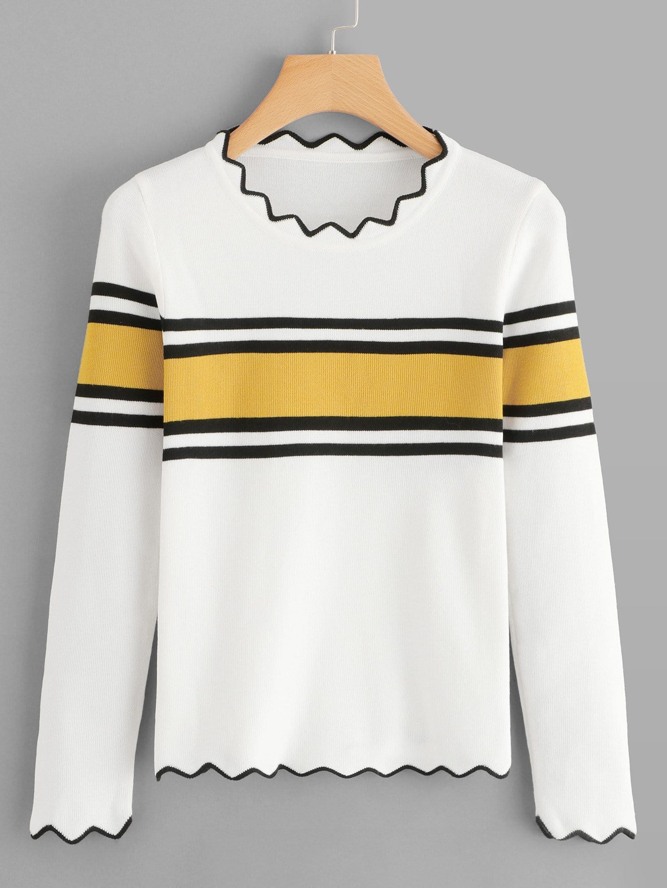 Striped Panel Asymmetrical Neck Jumper