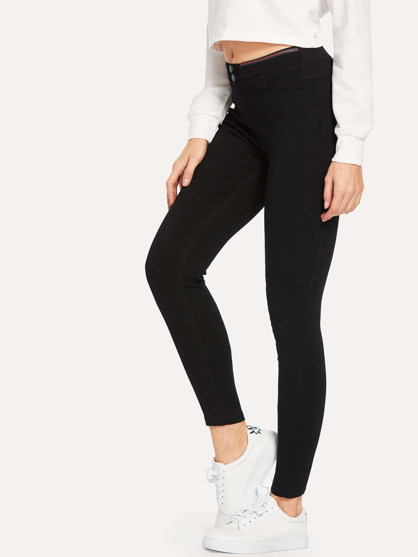 Button Detail Zip Front Solid Denim Pants