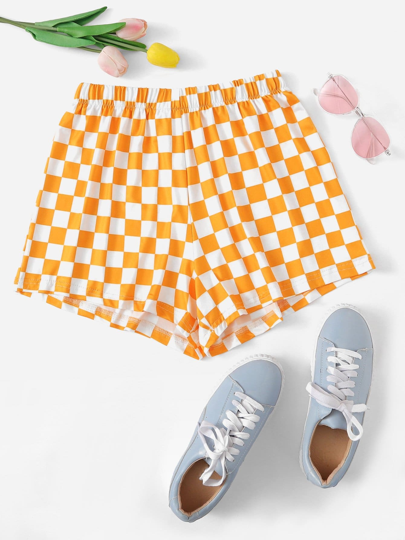 Plaid Taille Élastique De Shorts