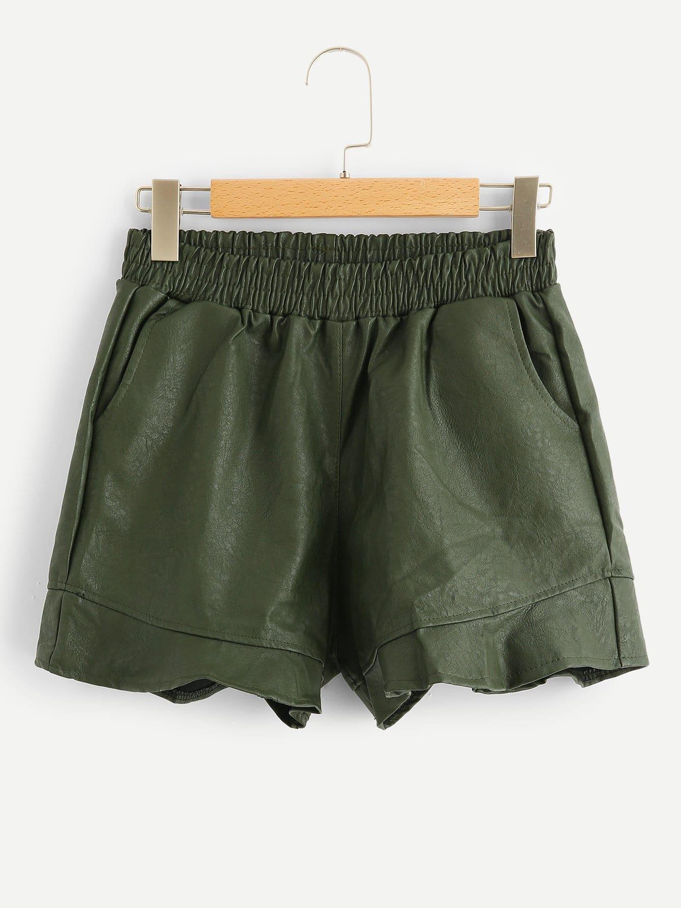 Élastique À La Taille Volants Ourlet Shorts