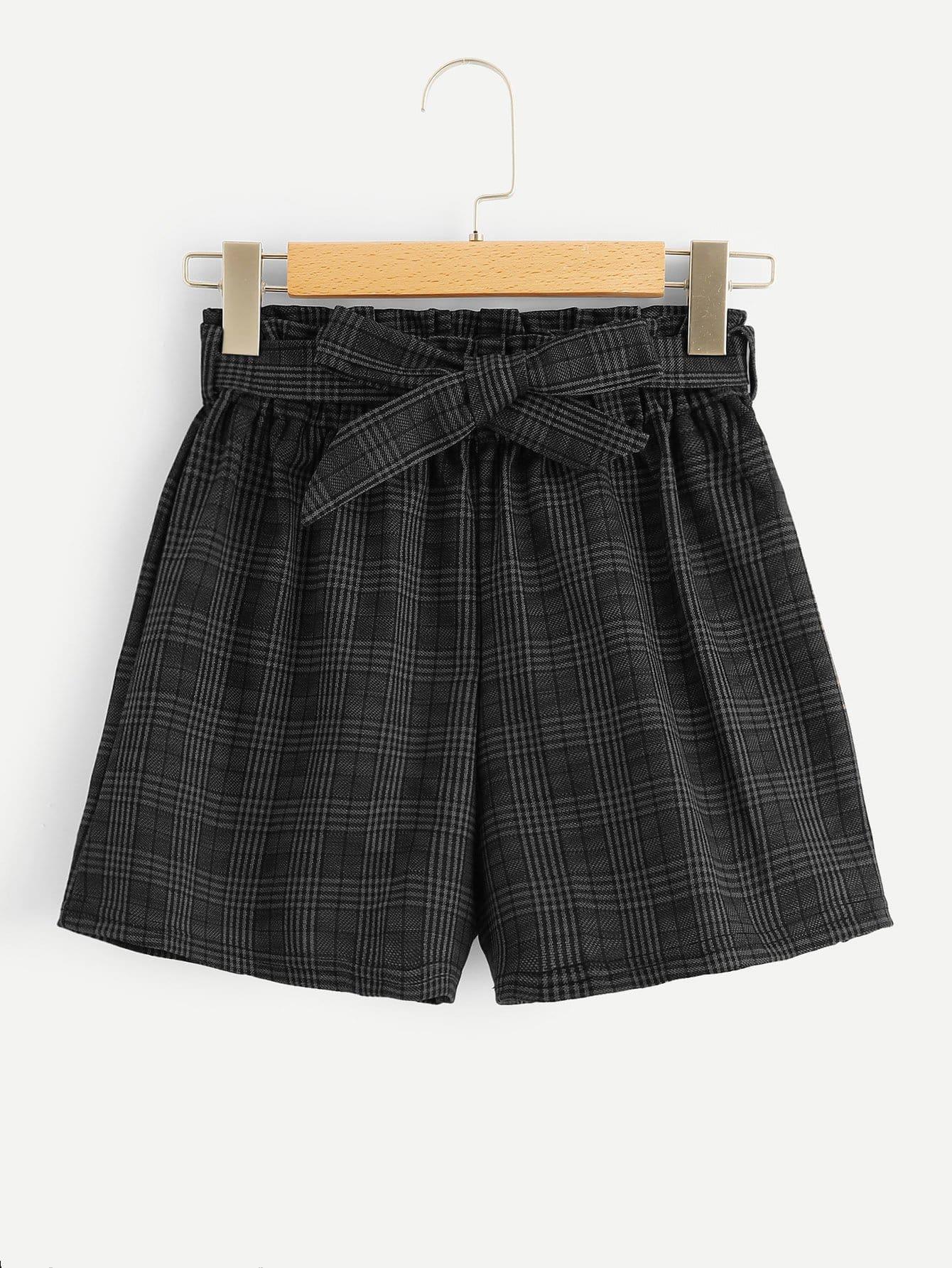 Plaid Auto Cravate Shorts Taille